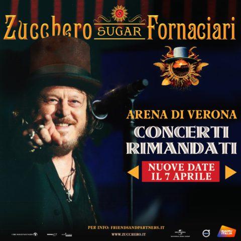 I 14 show di Zucchero Fornaciari, previsti all'Arena di Verona a partire dal 23 aprile 2021 sono rinviati
